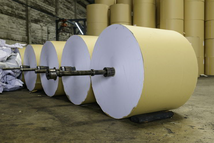 Offset Printing Paper Rolls in a Printing Factory