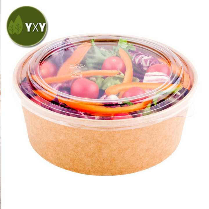 100% Eco Friendly Kraft Paper Salad Bowl With Lid