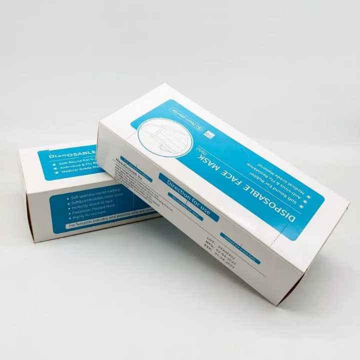Face Mask 3 ply Disposable Non Woven Blue Color