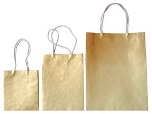 Handmade Paper Bag - Gold Metallic Color