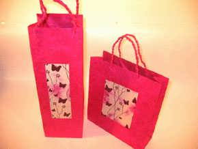 Pink Butterfly Wine Bag