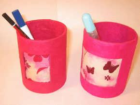 Pink Butterfly Pen Holder